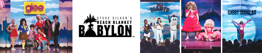 Montage of scenes from Beach Blanket Babylon