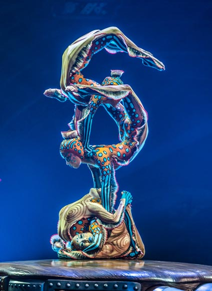 Image of Cirque du Soleil performers performing human sculpture
