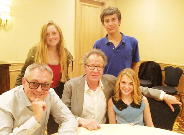 Image of The Book Thief's director Brian Percival, actors Geoffrey Rush and Sophie Nelisse and FastForward reporters Matt Geffen and Lizzie Chadbourne