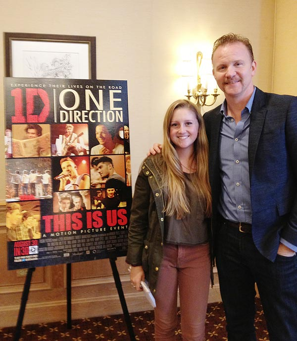 Image of Morgan Spurlock with FastForward reporter Lizzie Chadbourne