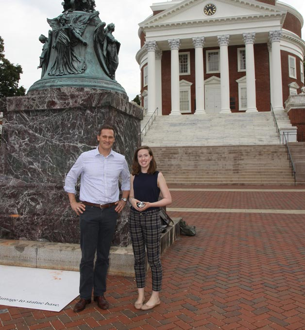 Image of FastForward reporter C.C. Clark with Charlottesville Major Mike Signer