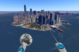 image of Google Earth virtual reality showing a virtual fly-over of New York City