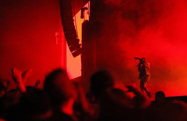 Image of crowd enjoying a performance of Kanye West at the Outside Lands Music & Arts Festival