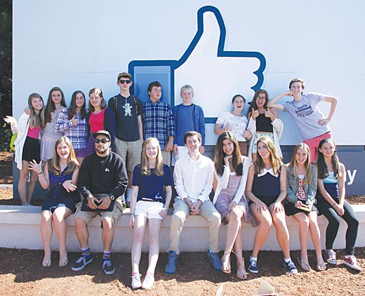 Image of the FastForward Adventure Reporters on site at Facebook's Menlo Park campus