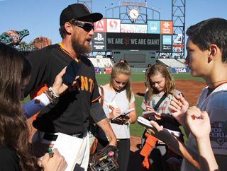 Image of Hunter Pence being interviewed by FastForward reporters
