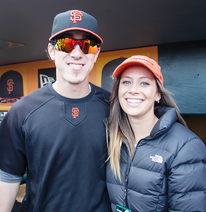 A happy FastForwad reporter posing with Giants ace Tim Lincecum