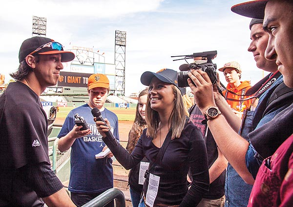 Image of the FastForward reporters with San Francisco Giant Tim Lincecum